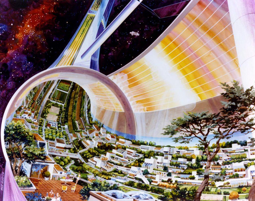 تصویری از سال 1970 میلادی که کمربند مسکونی انسانها در فضا در آینده را نشان میدهد. استفاده از تفکر خطی، فقر در تفکر آینده و عدم توجه به سایر حوزهها به خوبی در این تصویر دیده میشود. - آشنایی با تکینگی فناوری
