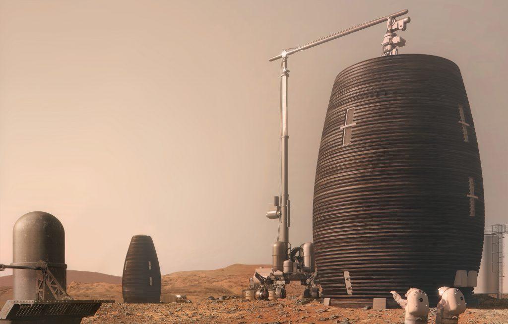 یکی از طرحهای برگزیده رقابت ناسا برای ساخت اقامتگاه مریخی با چاپ سهبعدی. هدف از این رقابت ساخت پرینترهای سهبعدی بود که قادر به استفاده از خاک مریخ برای ساخت اقامتگاههای انسانی در مریخ باشد. - آشنایی با تکینگی فناوری